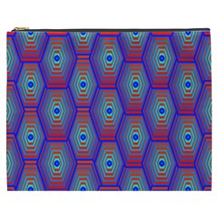 Red Blue Bee Hive Pattern Cosmetic Bag (xxxl)