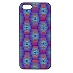 Red Blue Bee Hive Pattern Apple Iphone 5 Seamless Case (black)