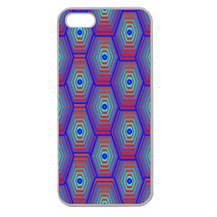 Red Blue Bee Hive Pattern Apple Seamless Iphone 5 Case (clear)