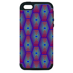 Red Blue Bee Hive Pattern Apple iPhone 5 Hardshell Case (PC+Silicone)