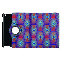 Red Blue Bee Hive Pattern Apple Ipad 2 Flip 360 Case