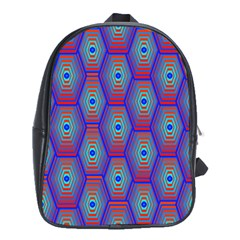 Red Blue Bee Hive Pattern School Bags (XL)