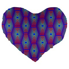 Red Blue Bee Hive Pattern Large 19  Premium Heart Shape Cushions