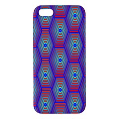 Red Blue Bee Hive Pattern Apple Iphone 5 Premium Hardshell Case