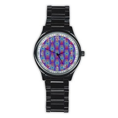 Red Blue Bee Hive Pattern Stainless Steel Round Watch
