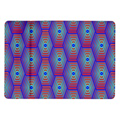 Red Blue Bee Hive Pattern Samsung Galaxy Tab 10 1  P7500 Flip Case