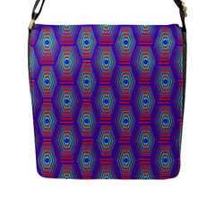 Red Blue Bee Hive Pattern Flap Messenger Bag (l)
