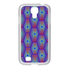Red Blue Bee Hive Pattern Samsung GALAXY S4 I9500/ I9505 Case (White)