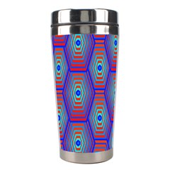 Red Blue Bee Hive Pattern Stainless Steel Travel Tumblers