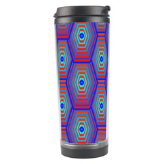 Red Blue Bee Hive Pattern Travel Tumbler