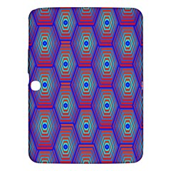 Red Blue Bee Hive Pattern Samsung Galaxy Tab 3 (10 1 ) P5200 Hardshell Case