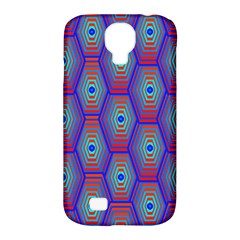 Red Blue Bee Hive Pattern Samsung Galaxy S4 Classic Hardshell Case (pc+silicone)