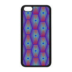 Red Blue Bee Hive Pattern Apple Iphone 5c Seamless Case (black)