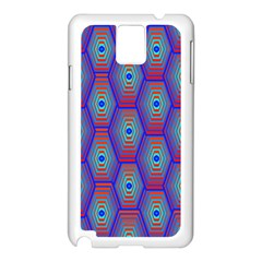 Red Blue Bee Hive Pattern Samsung Galaxy Note 3 N9005 Case (white)
