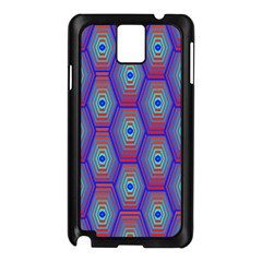 Red Blue Bee Hive Pattern Samsung Galaxy Note 3 N9005 Case (black)