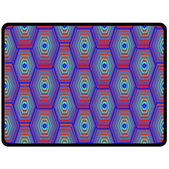 Red Blue Bee Hive Pattern Double Sided Fleece Blanket (large)