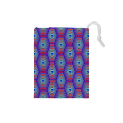 Red Blue Bee Hive Pattern Drawstring Pouches (small)