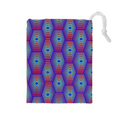 Red Blue Bee Hive Pattern Drawstring Pouches (large)