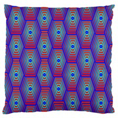 Red Blue Bee Hive Pattern Standard Flano Cushion Case (two Sides)