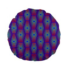 Red Blue Bee Hive Pattern Standard 15  Premium Flano Round Cushions