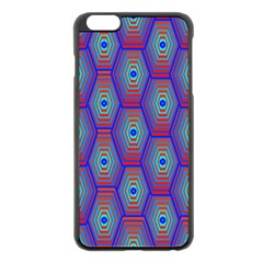 Red Blue Bee Hive Pattern Apple Iphone 6 Plus/6s Plus Black Enamel Case