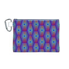 Red Blue Bee Hive Pattern Canvas Cosmetic Bag (m)