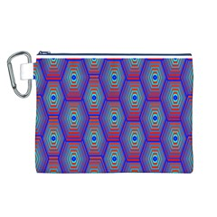 Red Blue Bee Hive Pattern Canvas Cosmetic Bag (L)