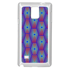 Red Blue Bee Hive Pattern Samsung Galaxy Note 4 Case (White)