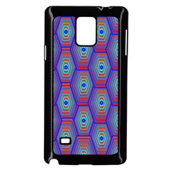 Red Blue Bee Hive Pattern Samsung Galaxy Note 4 Case (Black)