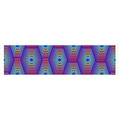 Red Blue Bee Hive Pattern Satin Scarf (oblong)