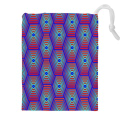 Red Blue Bee Hive Pattern Drawstring Pouches (xxl)