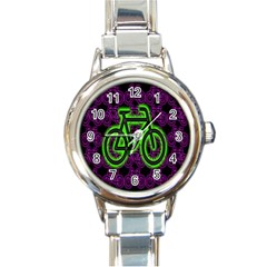 Bike Graphic Neon Colors Pink Purple Green Bicycle Light Round Italian Charm Watch