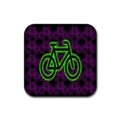 Bike Graphic Neon Colors Pink Purple Green Bicycle Light Rubber Coaster (square)