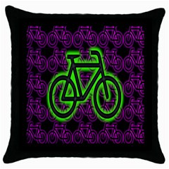 Bike Graphic Neon Colors Pink Purple Green Bicycle Light Throw Pillow Case (black)