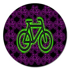 Bike Graphic Neon Colors Pink Purple Green Bicycle Light Magnet 5  (round)
