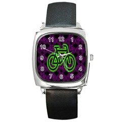 Bike Graphic Neon Colors Pink Purple Green Bicycle Light Square Metal Watch