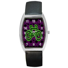 Bike Graphic Neon Colors Pink Purple Green Bicycle Light Barrel Style Metal Watch