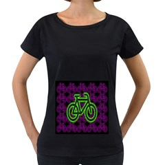 Bike Graphic Neon Colors Pink Purple Green Bicycle Light Women s Loose-Fit T-Shirt (Black)