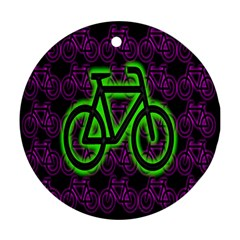 Bike Graphic Neon Colors Pink Purple Green Bicycle Light Round Ornament (two Sides)