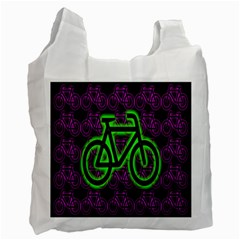 Bike Graphic Neon Colors Pink Purple Green Bicycle Light Recycle Bag (two Side)