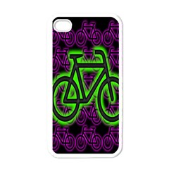 Bike Graphic Neon Colors Pink Purple Green Bicycle Light Apple iPhone 4 Case (White)
