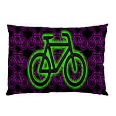 Bike Graphic Neon Colors Pink Purple Green Bicycle Light Pillow Case (Two Sides)