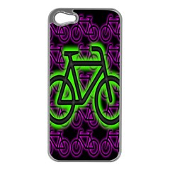 Bike Graphic Neon Colors Pink Purple Green Bicycle Light Apple iPhone 5 Case (Silver)