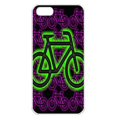 Bike Graphic Neon Colors Pink Purple Green Bicycle Light Apple iPhone 5 Seamless Case (White)