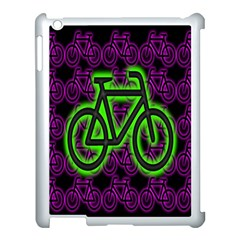 Bike Graphic Neon Colors Pink Purple Green Bicycle Light Apple iPad 3/4 Case (White)