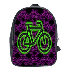 Bike Graphic Neon Colors Pink Purple Green Bicycle Light School Bags (XL)