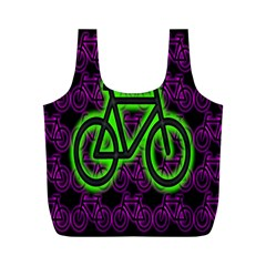 Bike Graphic Neon Colors Pink Purple Green Bicycle Light Full Print Recycle Bags (M)