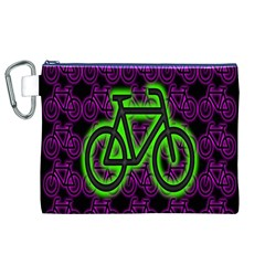 Bike Graphic Neon Colors Pink Purple Green Bicycle Light Canvas Cosmetic Bag (XL)
