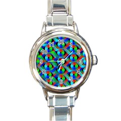 Bee Hive Color Disks Round Italian Charm Watch