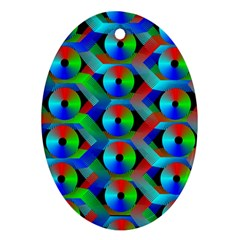 Bee Hive Color Disks Ornament (oval)